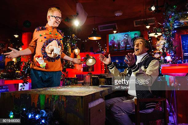 Chris Evans and Steve Coogan as Alan Partridge during a live broadcast of 'TFI Friday' on December 18 2015 in London England