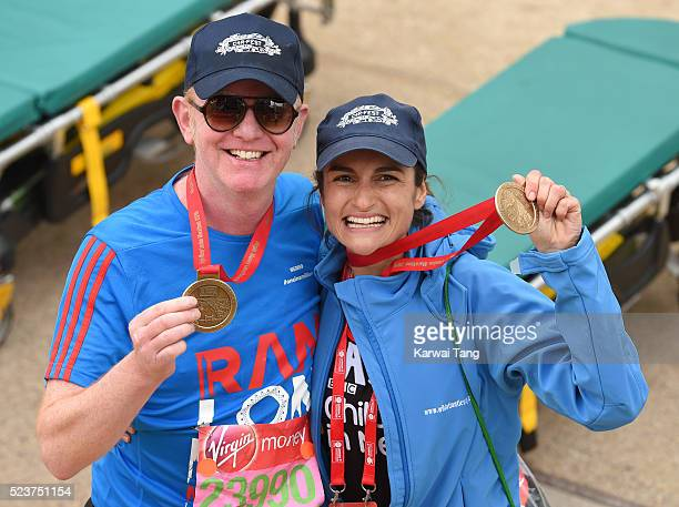 Chris Evans and wife Natasha Shishmanian finishes the Virgin London Marathon 2016 on April 24, 2016 in London, England.