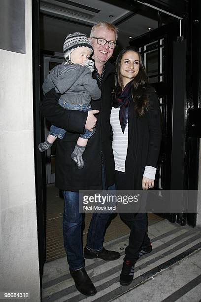 Chris Evans and wife Natasha Shishmanian leave His BBC Radio 2 Breakfast Show with their son Noah on January 11 2010 in London England
