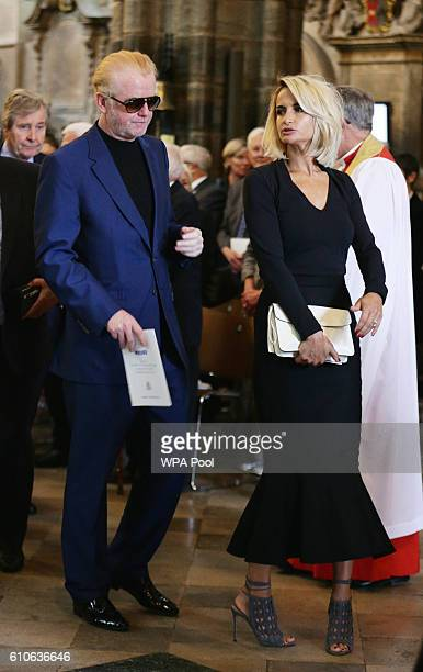 Chris Evans and wife Natasha Shishmanian leave Westminster Abbey London following a memorial service for the late Sir Terry Wogan at Westminster...
