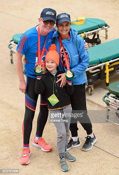 Chris Evans and wife Natasha Shishmanian with son Noah finishes the Virgin London Marathon 2016 on April 24 2016 in London England