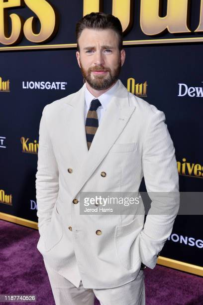 Chris Evans arrives at the Premiere of Lionsgate's 'Knives Out' at Regency Village Theatre on November 14 2019 in Westwood California