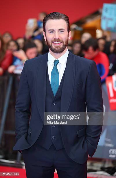 "Chris Evans arrives for European Premiere ""Captain America: Civil War"" at Vue Westfield on April 26, 2016 in London, England"