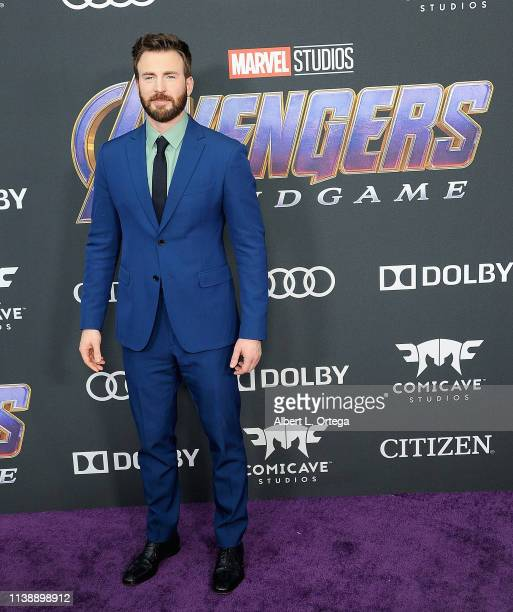 Chris Evans arrives for the World Premiere Of Walt Disney Studios Motion Pictures Avengers Endgame held at Los Angeles Convention Center on April 22...