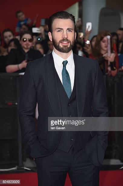 Chris Evans arrives for UK film premiere 'Captain America Civil War' at Vue Westfield on April 26 2016 in London England