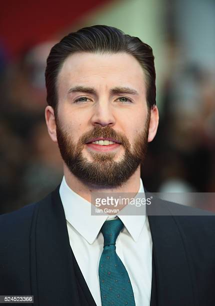 "Chris Evans arrives for UK film premiere ""Captain America: Civil War"" at Vue Westfield on April 26, 2016 in London, England"