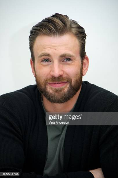 "Chris Evans at the ""Avengers: Age of Ultron"" Press Conference at Walt Disney Studios on April 11, 2015 in Burbank, California."