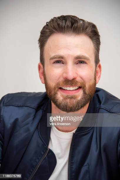 "Chris Evans at the ""Knives Out"" Press Conference at the Four Seasons Hotel on November 15, 2019 in Beverly Hills, California."