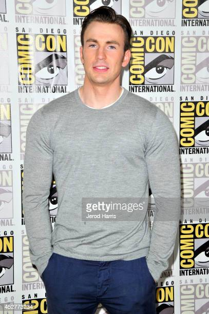 Chris Evans attends Marvel's 'AntMan' press line during ComicCon International 2014 at San Diego Convention Center on July 26 2014 in San Diego...