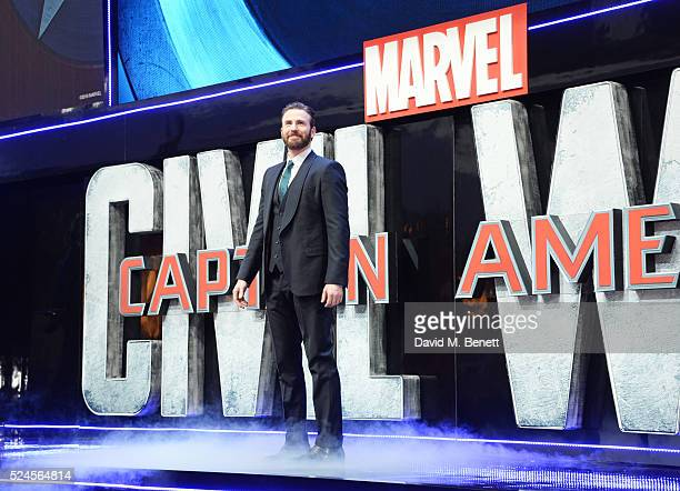 Chris Evans attends the European Premiere of Captain America Civil War at Vue Westfield on April 26 2016 in London England