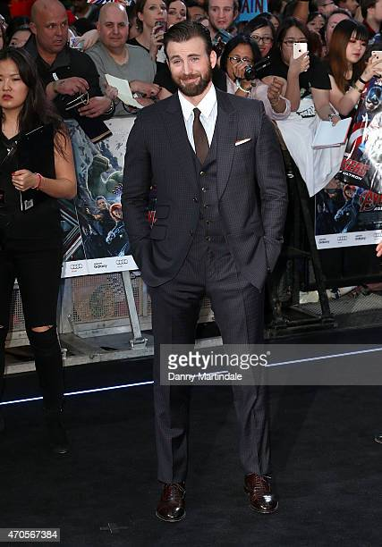 "Chris Evans attends the European premiere of ""The Avengers: Age Of Ultron"" at Westfield London on April 21, 2015 in London, England."