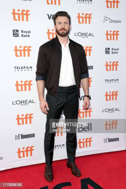"Chris Evans attends the ""Knives Out"" premiere during the 2019 Toronto International Film Festival at Princess of Wales Theatre on September 07, 2019..."