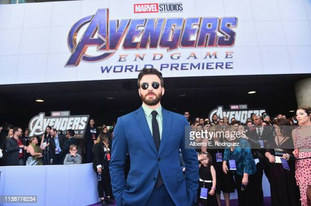 "Chris Evans attends the Los Angeles World Premiere of Marvel Studios' ""Avengers: Endgame"" at the Los Angeles Convention Center on April 23, 2019 in..."