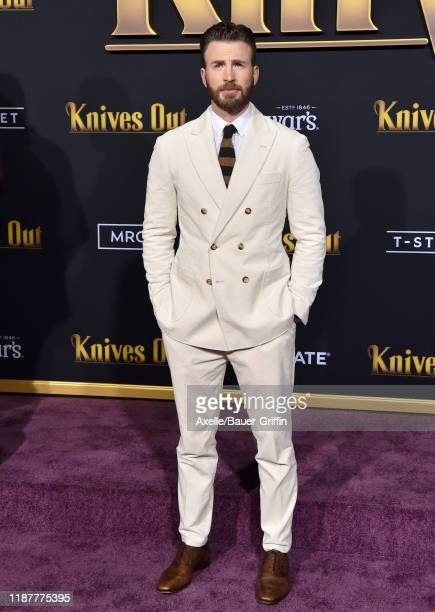 Chris Evans attends the Premiere of Lionsgate's Knives Out at Regency Village Theatre on November 14 2019 in Westwood California
