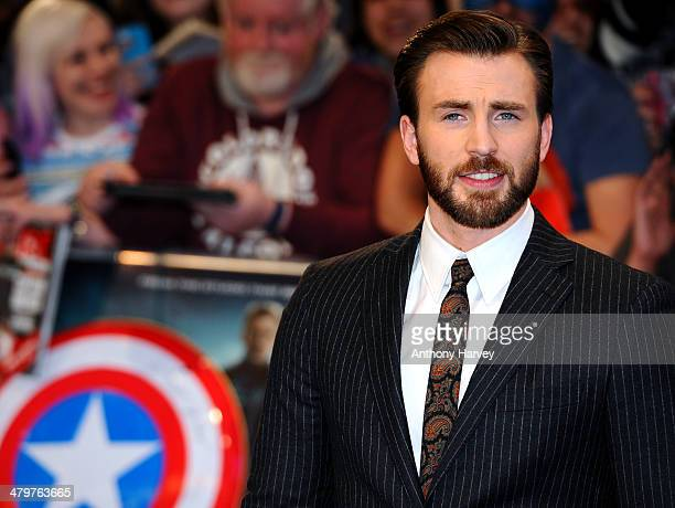 Chris Evans attends the UK Film Premiere of Captain America The Winter Soldier at Westfield London on March 20 2014 in London England