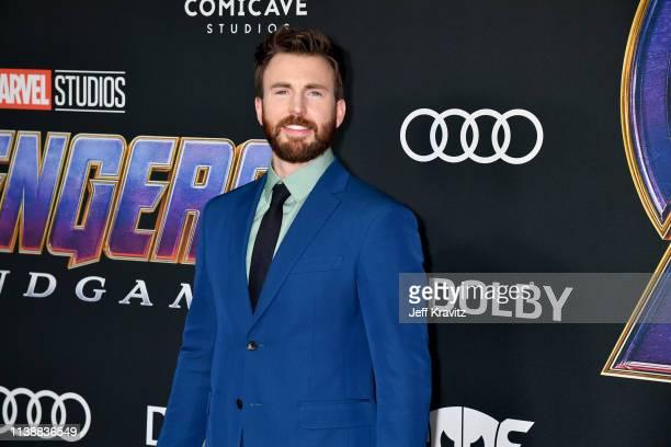 "Chris Evans attends the World Premiere of Walt Disney Studios Motion Pictures ""Avengers: Endgame"" at Los Angeles Convention Center on April 22, 2019..."
