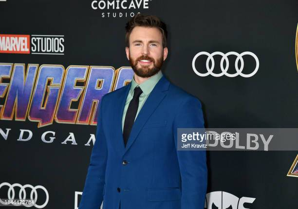 "Chris Evans attends the World Premiere of Walt Disney Studios Motion Pictures ""Avengers: Endgame"" at Los Angeles Convention Center on April 22, 2019..."