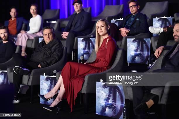 Chris Evans Director Joe Russo Brie Larson and Mark Ruffalo Paul Rudd Scarlett Johansson President of Marvel Studios/Producer Kevin Feige and Robert...