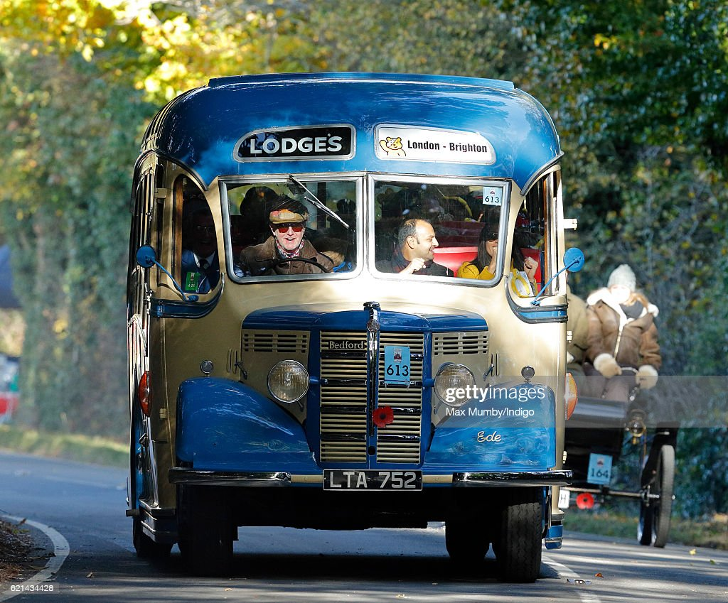 Chris Evans drives a Bedford Bus as he takes part in the 120th London to Brighton Veteran Car Run on November 6, 2016 in Staplefield, England. Over 400 pre-1905 manufactured vehicles take part in the annual run from London to Brighton to commemorate the Emancipation Run of November 1896 which celebrated the raising of the speed limit from 4mph to 14 mph.