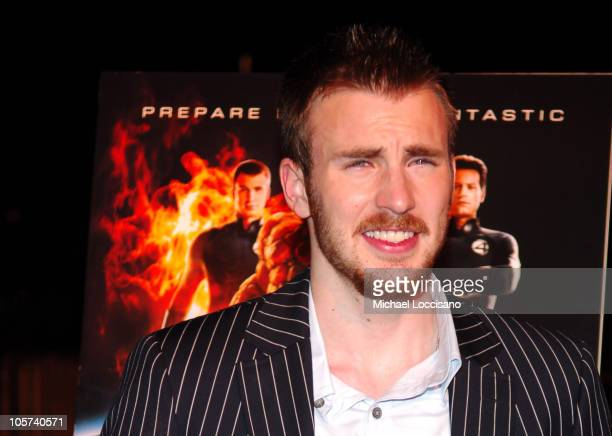 Chris Evans during Fantastic Four New York City Premiere at Liberty Island in New York City New York United States