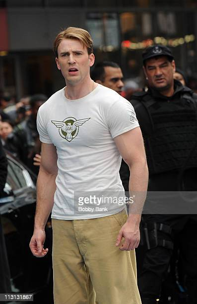 Chris Evans filming on location for Captain America The First Avenger on the streets of Manhattan on April 23 2011 in New York City