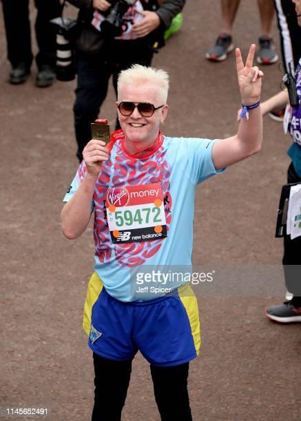 Chris Evans finishes the Virgin London Marathon 2019 on April 28 2019 in London United Kingdom