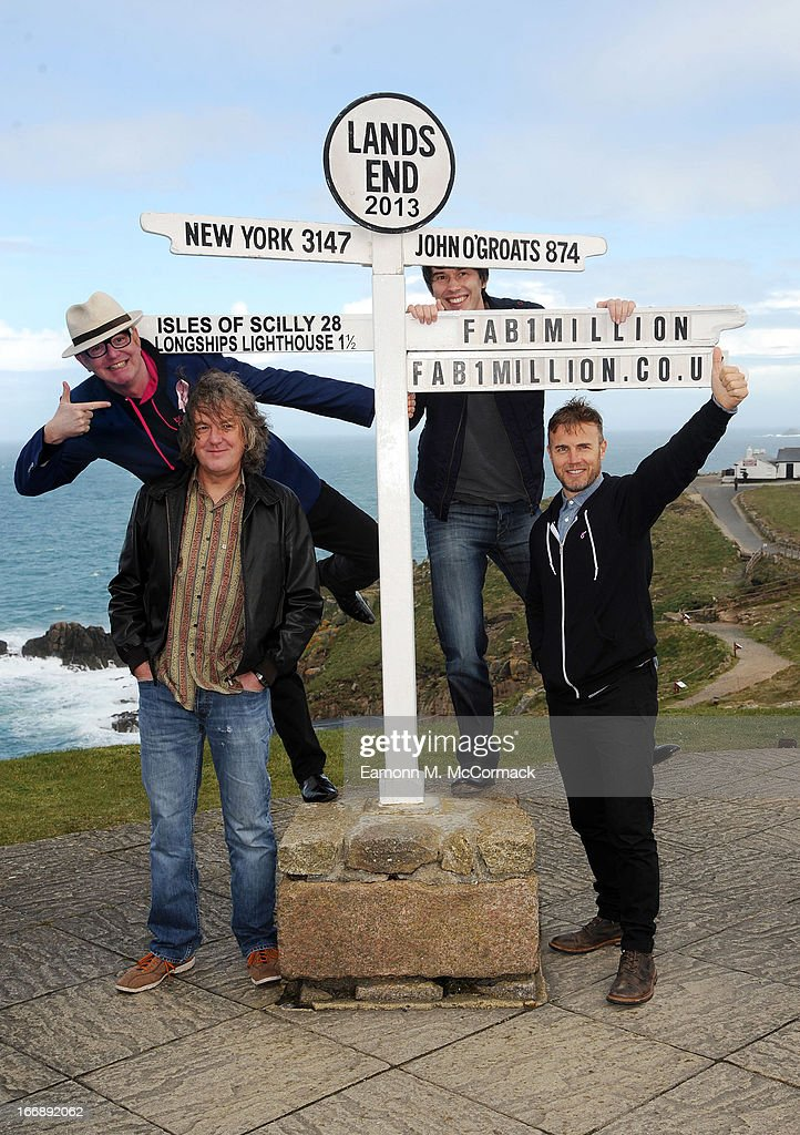 Chris Evans, Gary Barlow, James May and Professor Brian Cox launch FAB1 Million by driving from Land's End to John O'Groats on April 18, 2013 in Land's End, England. FAB1 Million aims to raise one million pounds for Breast Cancer Care using a bespoke pink Rolls Royce Ghost with the original FAB1 Thunderbirds number plate, which is available for hire.