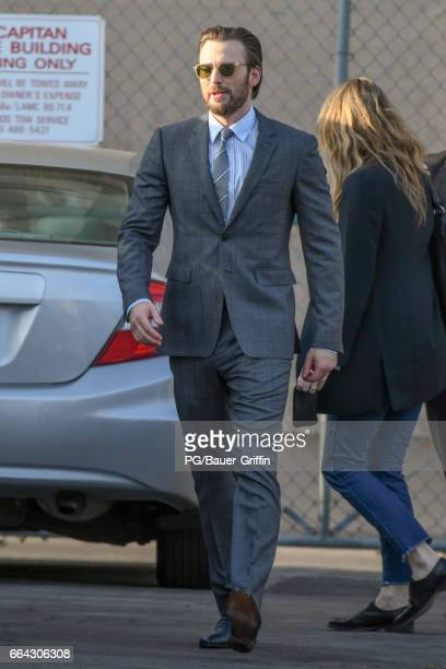 Chris Evans is seen outside 'Jimmy Kimmel Live' on April 03 2017 in Los Angeles California