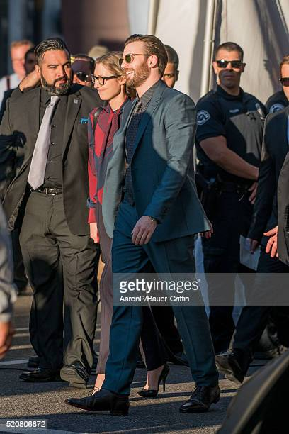Chris Evans is seen outside the premiere of 'Captain America Civil War' on April 12 2016 in Los Angeles California