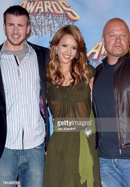 Chris Evans Jessica Alba and Michael Chiklis during 2005 MTV Movie Awards Press Room at Shrine Auditorium in Los Angeles California United States