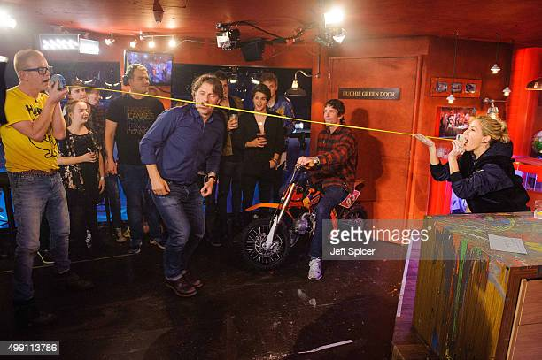 Chris Evans John Bishop and Connor Ball and James Daniel McVey and Brad Simpson and Tristan Evans and Travis Pastrana during a live broadcast of 'TFI...