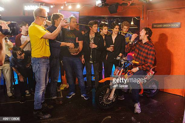 Chris Evans John Bishop Connor Ball James Daniel McVey Brad Simpson and Tristan Evans and Travis Pastrana during a live broadcast of 'TFI Friday' on...