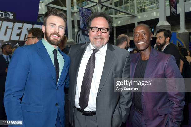 Chris Evans Jon Favreau and Don Cheadle attend the world premiere of Walt Disney Studios Motion Pictures Avengers Endgame at the Los Angeles...
