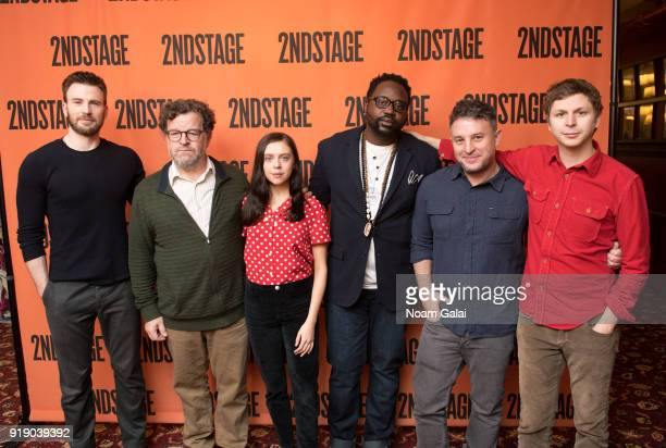 Chris Evans Kenneth Lonergan Bel Powley Brian Tyree Henry Trip Cullman and Michael Cera attends the 'Lobby Hero' cast meet and greet at Sardi's on...