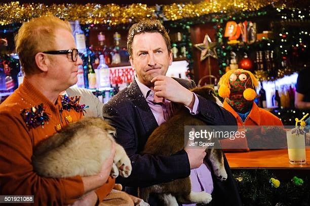 Chris Evans Lee Mack and Zag during a live broadcast of 'TFI Friday' on December 18 2015 in London England