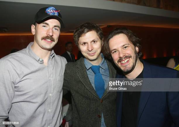 Chris Evans Michael Cera and Edgar Wright pose at the opening night after party for the play 'Lobby Hero' on Broadway at Bryant Park Grill on March...