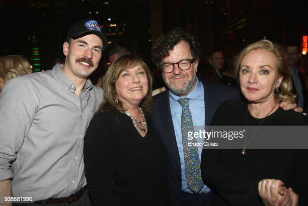 Chris Evans mother Lisa Evans Playwright Kenneth Lonergan and wife J Smith Cameron pose at the opening night after party for the play Lobby Hero on...