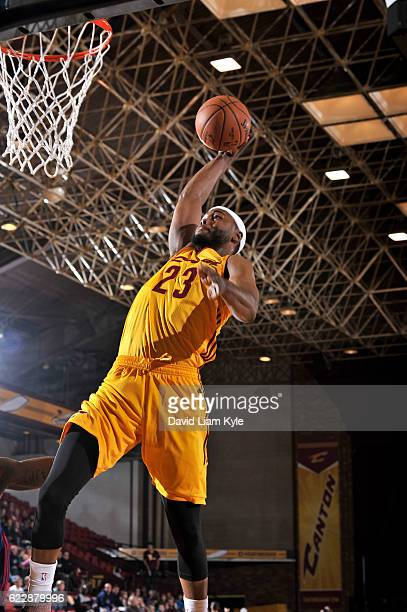 Chris Evans of the Canton Charge goes up for the dunk against the Long Island Nets at the Canton Memorial Civic Center on November 12 2016 in Canton...