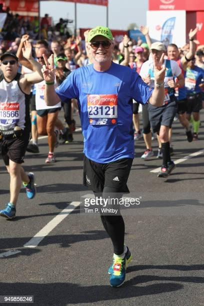 Chris Evans participates in The Virgin London Marathon on April 22 2018 in London England