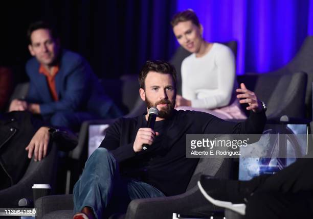 Chris Evans Paul Rudd and Scarlett Johansson speak onstage during Marvel Studios' Avengers Endgame Global Junket Press Conference at the...