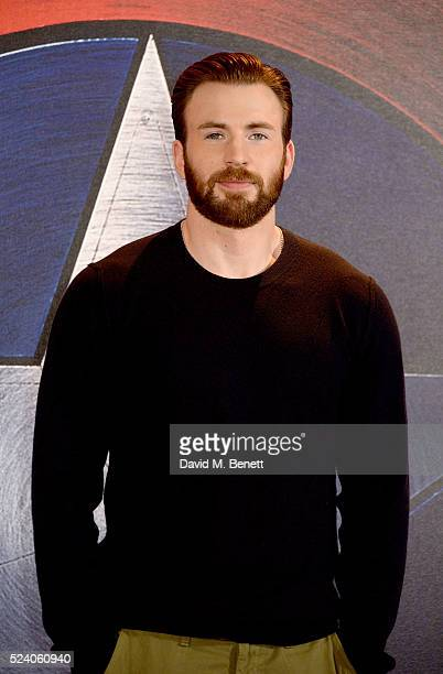 Chris Evans poses at a photocall for Captain America Civil War at The Corinthia Hotel London on April 25 2016 in London England