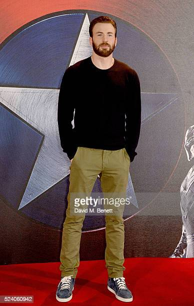 Chris Evans poses at a photocall for 'Captain America Civil War' at The Corinthia Hotel London on April 25 2016 in London England