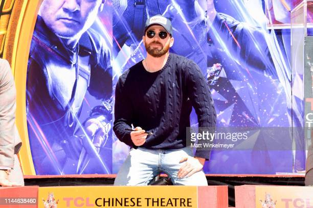Chris Evans poses at the Marvel Studios' 'Avengers: Endgame' Cast Place Their Hand Prints In Cement At TCL Chinese Theatre IMAX Forecourt at TCL...