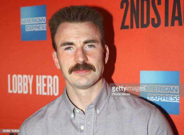 Chris Evans poses at the opening night after party for the play Lobby Hero on Broadway at Bryant Park Grill on March 26 2018 in New York City