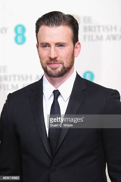 Chris Evans poses in the winners room at the EE British Academy Film Awards at The Royal Opera House on February 8 2015 in London England