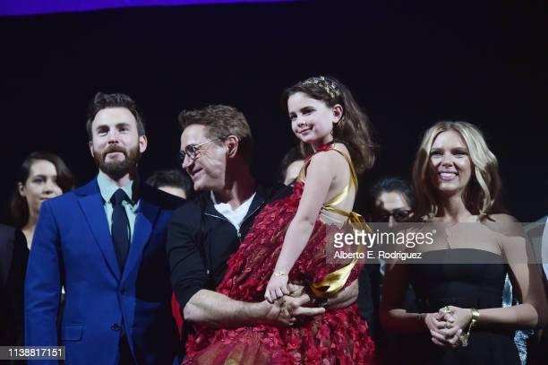 Chris Evans Robert Downey Jr Alexandra Rabe and Scarlett Johansson speak onstage the Los Angeles World Premiere of Marvel Studios' Avengers Endgame...