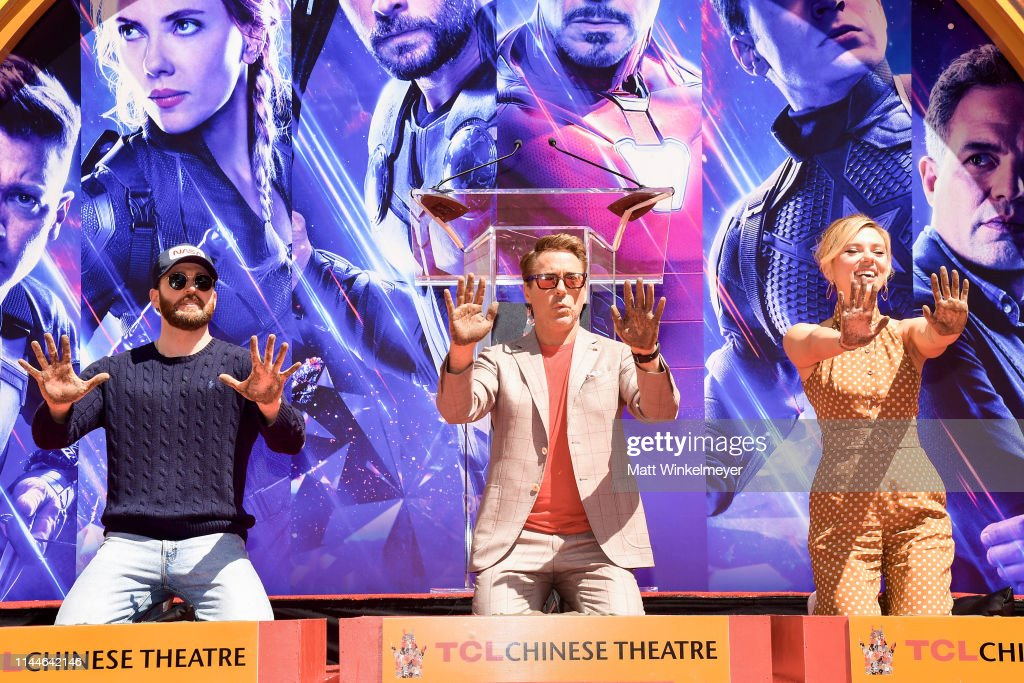 "CA: Marvel Studios' ""Avengers: Endgame"" Cast Place Their Hand Prints In Cement At TCL Chinese Theatre IMAX Forecourt"