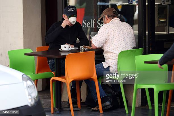 Chris Evans seen at a cafe with Danny Baker where they met with James Corden on July 6, 2016 in London, England.