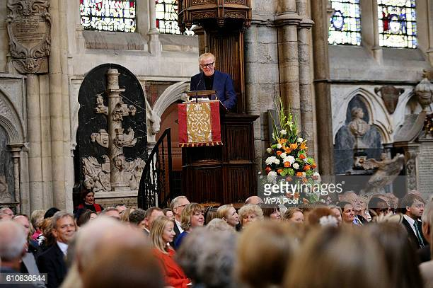 Chris Evans speaks during a memorial service for the late Sir Terry Wogan at Westminster Abbey on September 27 2016 in London England