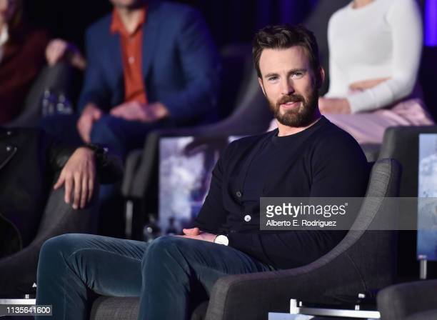 "Chris Evans speaks onstage during Marvel Studios' ""Avengers: Endgame"" Global Junket Press Conference at the InterContinental Los Angeles Downtown on..."